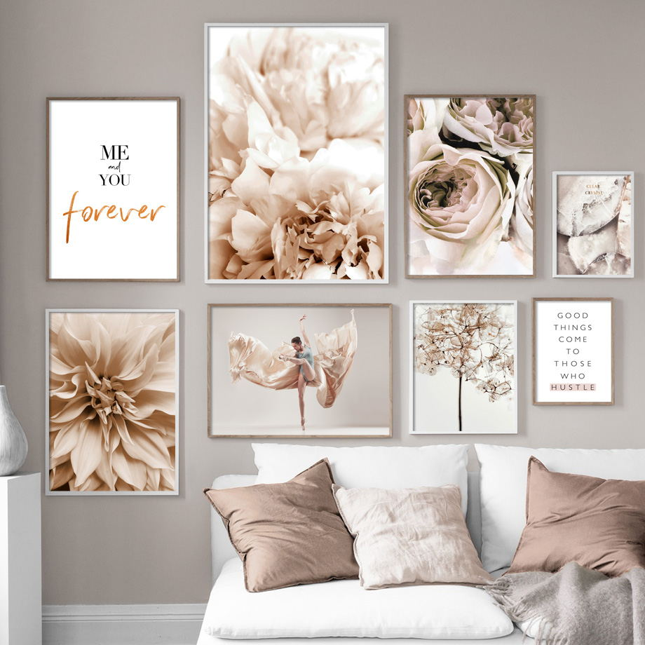AliExpress - Peony Flower Leaf Plant Dance Woman Quote Wall Art Canvas Painting Nordic Posters And Prints Wall Pictures For Living Room Decor