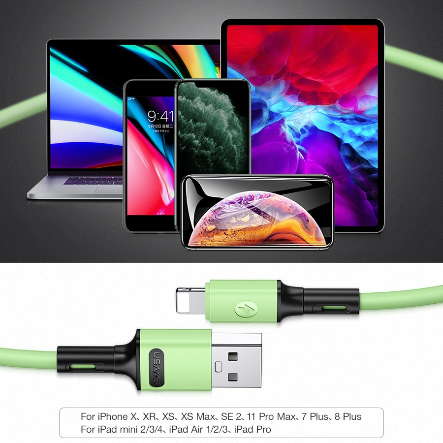 Купить с кэшбэком USAMS 1m 2A Type C Micro Usb Lighting Mobile Phone Cable for iPhone 12 11 X 8 7 Huawei Sumsung Xiaomi USB Data Cable Wire Cord