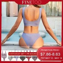 FINETOO Seamless Women Underwear Set Tops Set Panties Women Wireless Lingerie Suit Padded Bras S-XL