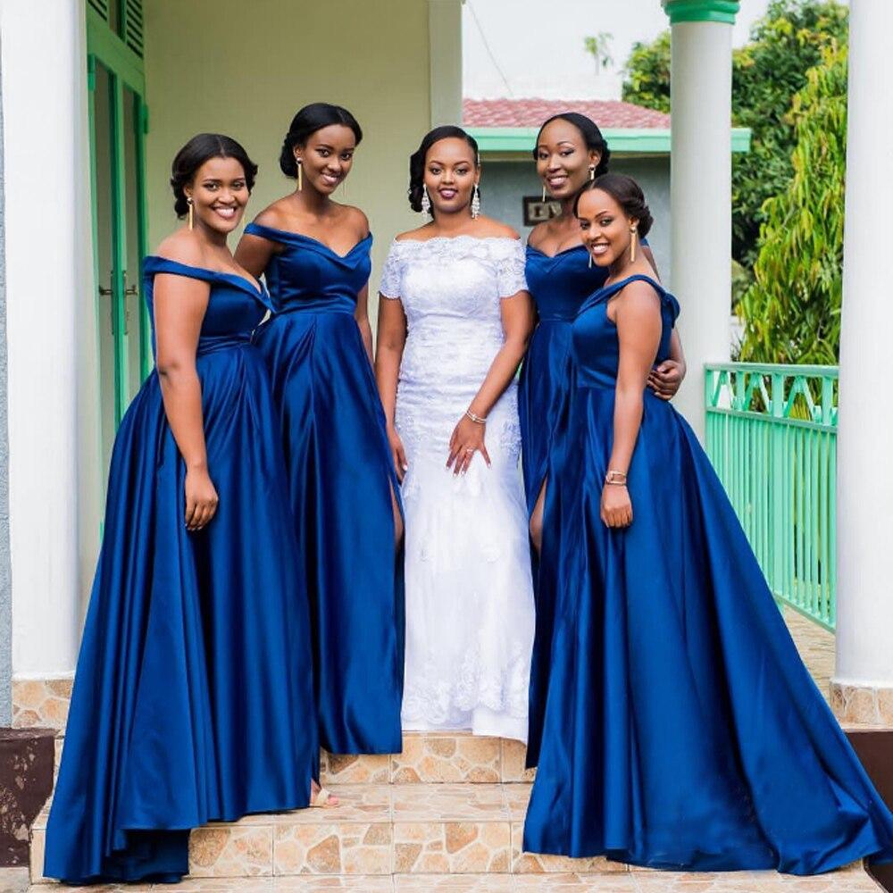 new blue african bridesmaid dress high quality satin wedding maids dresses