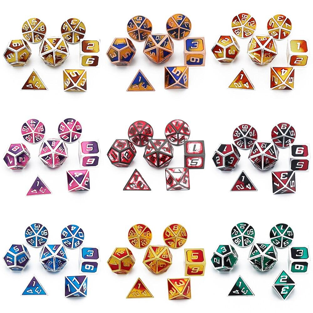 Dnd Dice Metal Rpg Set Polyhedral Rpg Dice Mtg Game D20 D12 D10 D8 D6 D4 Table Games Zinc Alloy Green Digital Polyhedral Dice Dice Aliexpress