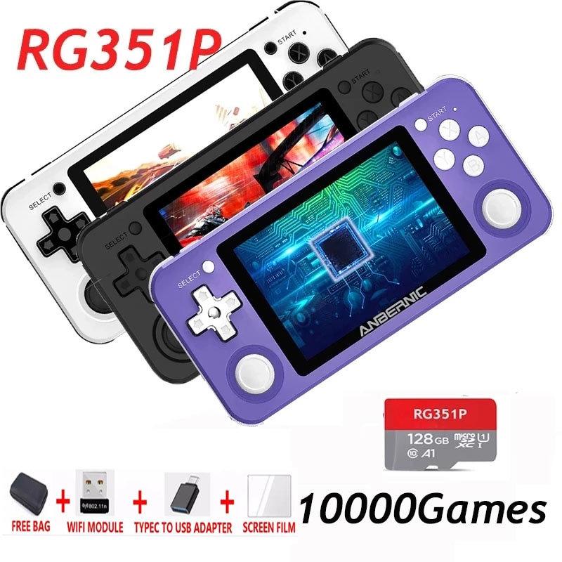 جديد RG351P Powkiddy الرجعية لعبة وحدة لينكس نظام الكمبيوتر قذيفة PS1 N64 لعبة لاعب المحمولة جيب وحدة تحكم بجهاز لعب محمول هدية