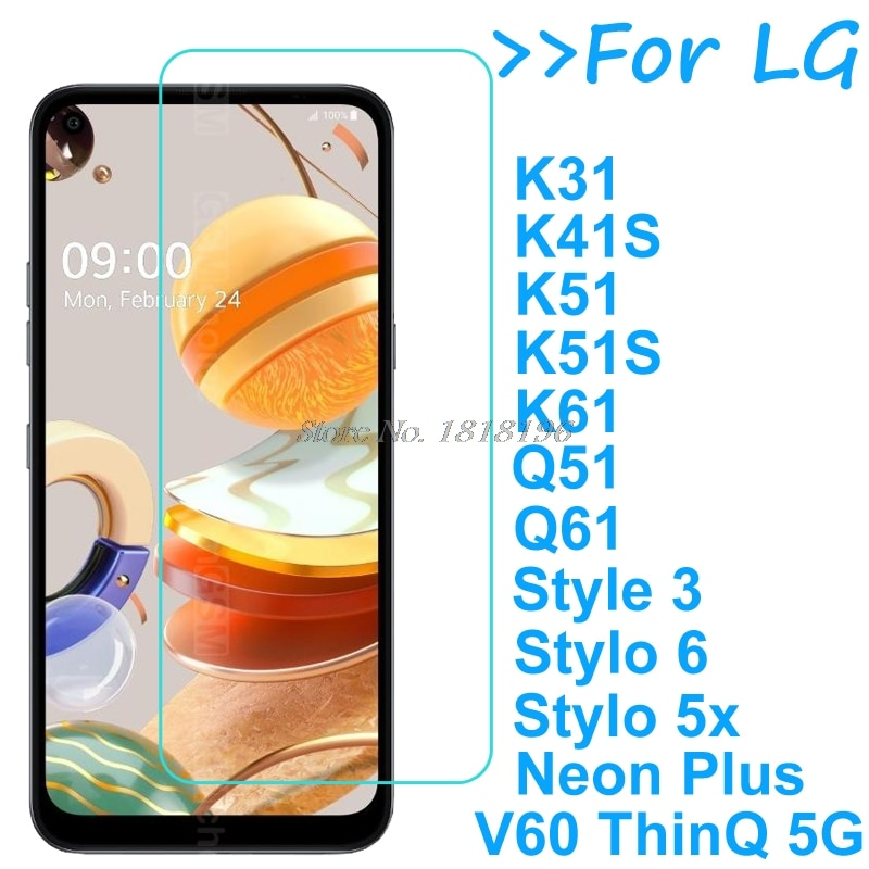 For LG Neon Plus Stylo 5x 6 Tempered Glass Screen Protector Film LG K31 K41 K51 K61 Q51 Q61 Q92 V60 Screen Protective Glass