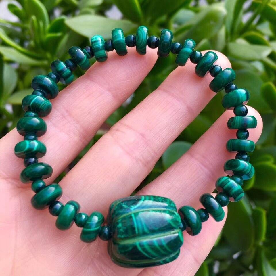 Brazalete de malaquita verde Natural genuino para hombres y mujeres, piedra curativa elástica de 10mm, brazalete con cuentas de cristal AAAAA