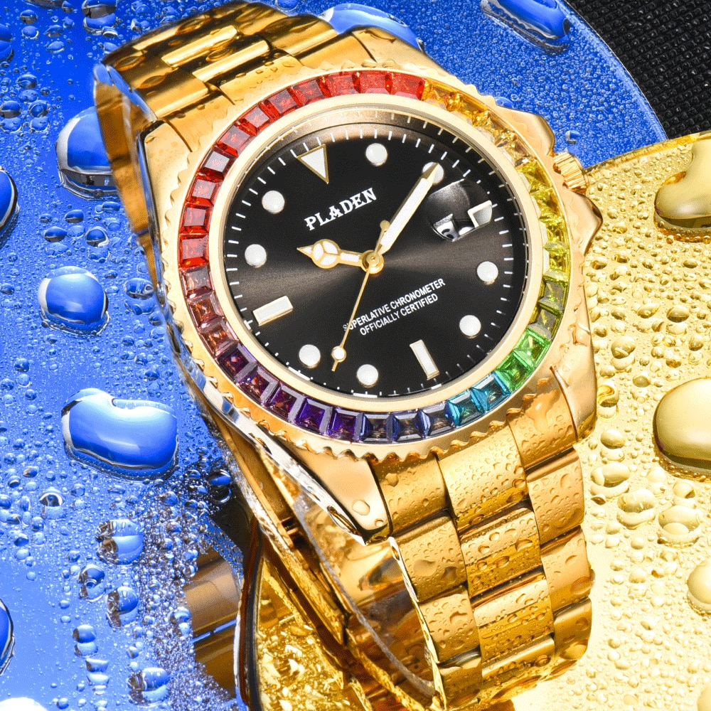 PLADEN Gold Luxury Brand  Luminous Man Watch Waterproof Rainbow Diamond Mens Quartz Wristwatches Cas