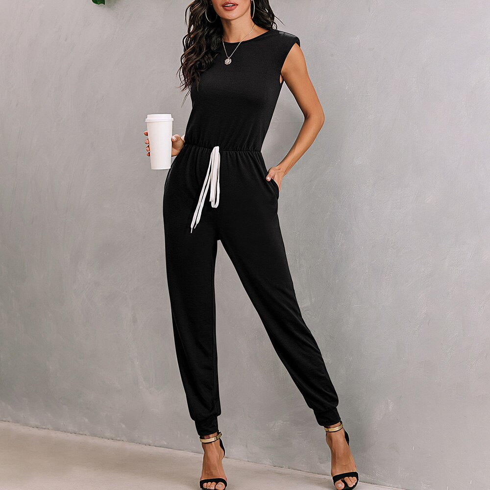 Women's Casual Sleeveless Shoulder Pads Wrap Drawstring High Waist Jumpsuit With Pockets Slim Summer Solid Color Jumpsuits D30