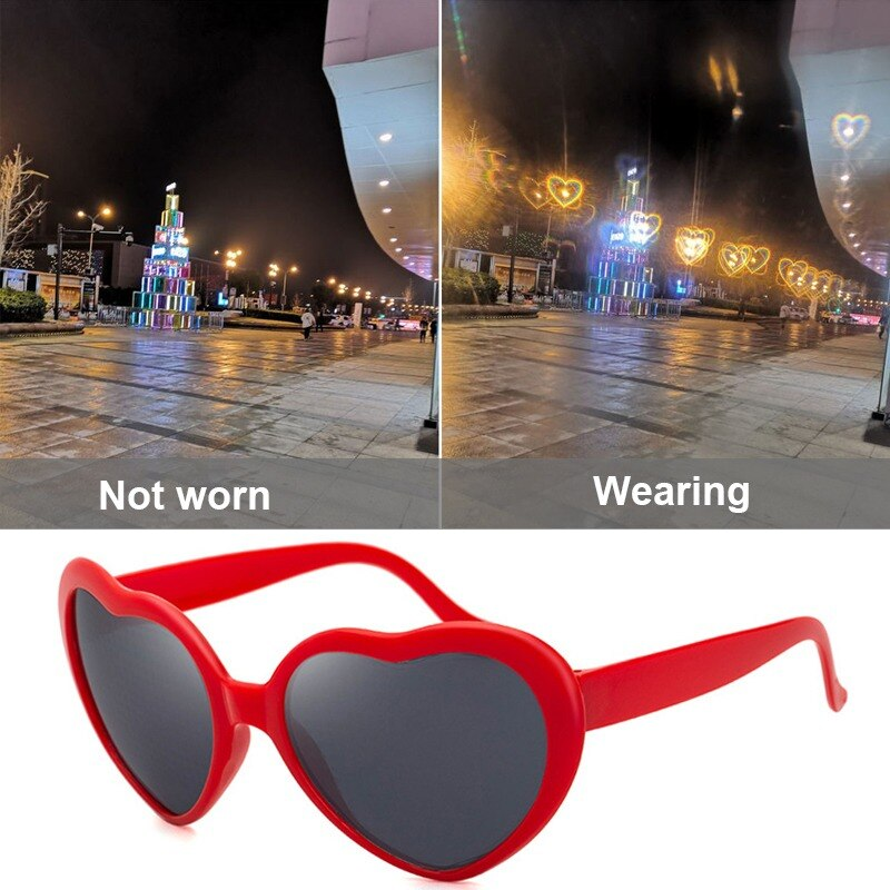 Love Heart Shaped Effects Glasses Watch Lights Change to Heart Shape At Night Diffraction Glasses Wo