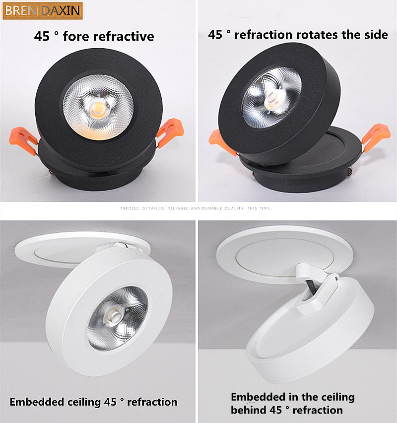led spotlight cob ceiling light focusing bedside wall lamp led downlight foldable adjustable angle household indoor lighting COB Ceiling Recessed Downlight 360degree Rotatable  Dimmable  Slim  90degree Foldable LED Spot Light Indoor lighting