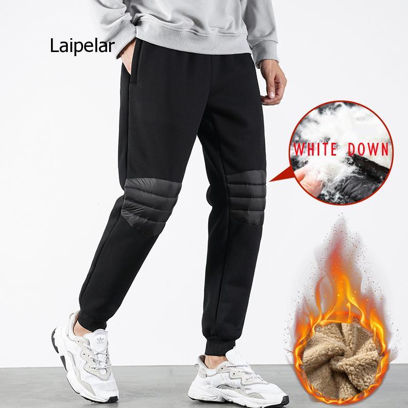 Зимние толстые мужские спортивные брюки размера плюс, новинка 2021, Джоггеры в стиле пэчворк, мужские теплые брюки, уличные брюки, эластичные ...