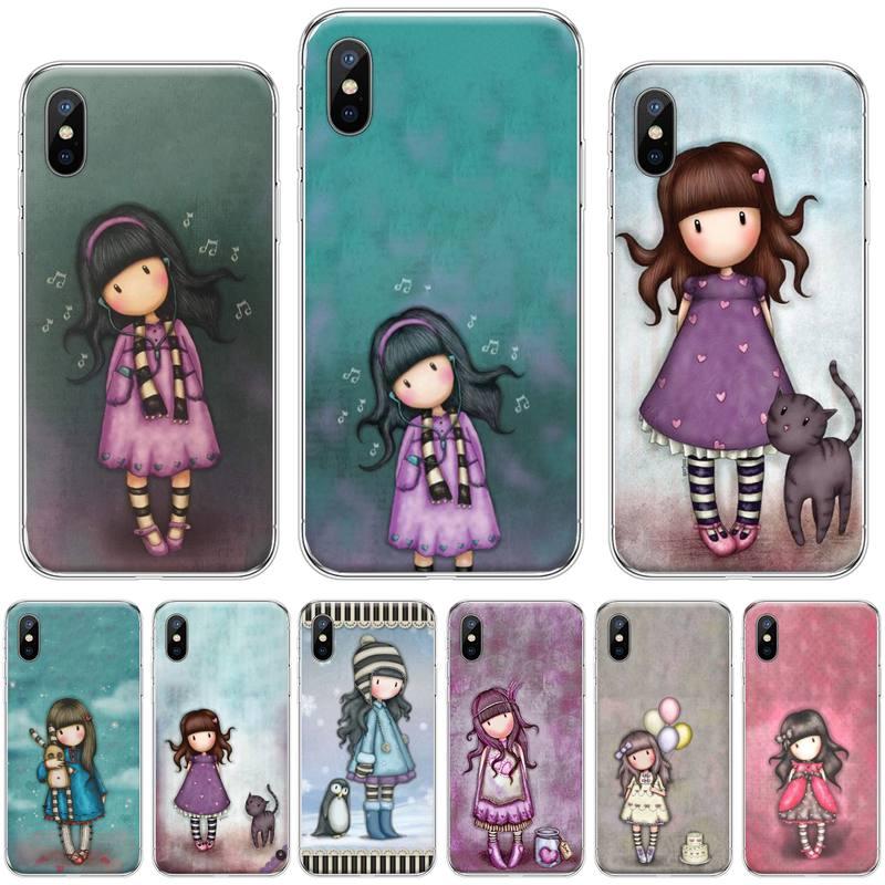 Chica Santoro Gorjuss rosa de silicona suave cubierta del teléfono TPU para iphone 4 4s 5 5s 5c se 6 6s 7 8 plus x xs x xr 11 pro max