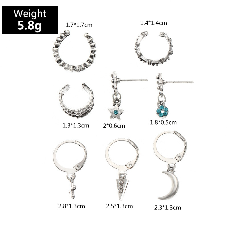 8pcs/set Fashion Ornament Retro Personality Cross Star and Moon Stud Earring C- Shaped Earrings Fashion Jewelry earring set  - buy with discount