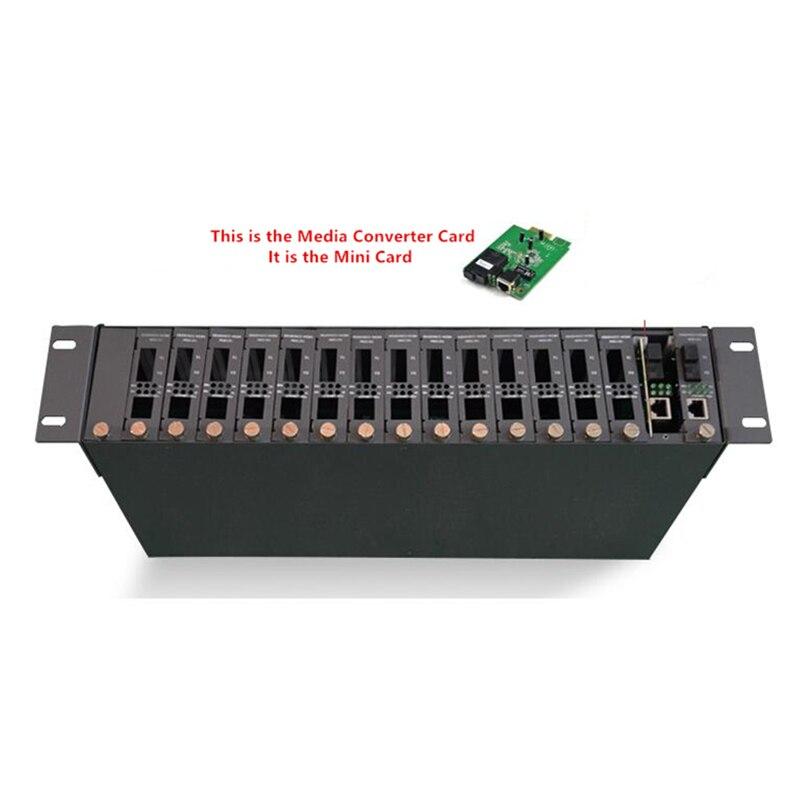 Convertidor de medios ópticos de fibra Rack 2U 19 16 ranuras bastidor de montaje para convertidor de medios