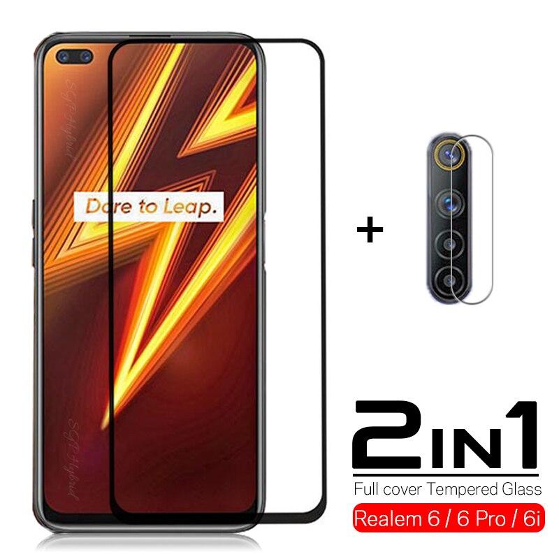 2in1 Full cover Tempered Glass for OPPO Realme 6i 6 Pro Screen Protector for oppo realme 6pro 6 pro camera Protective glass