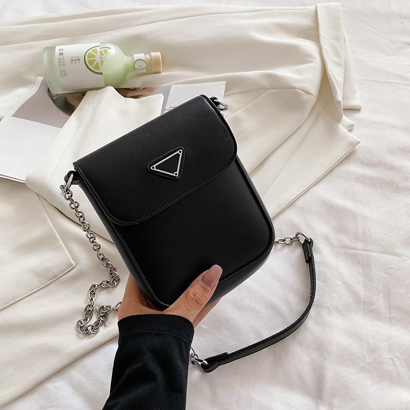 New Mini Simple PU Leather Crossbody Bag For Women 2021 Summer Branded Trendy Beautiful Fashion Chain Shoulder Handbags Purses