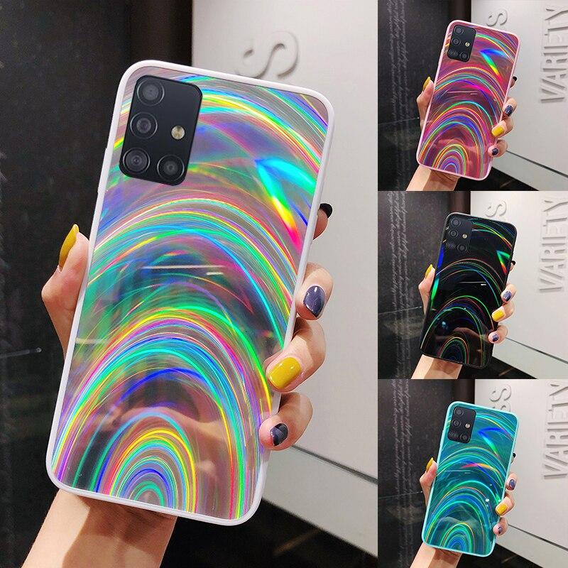 bling rainbow mirror Case for samsung galaxy a51 a71 s20 ultra a30 a50 a70 a10s a6 a9 a7 2018 s10 s9 s8 plus note 10 9 8 cover