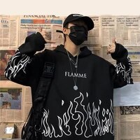 streetwear ladies flame print pullover hoodie oversized harajuku style hoodie plus size winter sweatshirt korean streetwear top