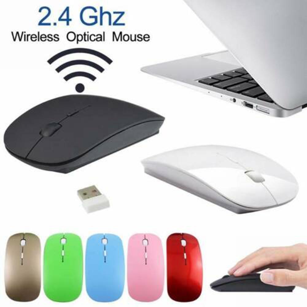 Ratón inalámbrico ultradelgado para oficina con batería de 2AAA, ratón de moda USB portátil para reuniones de alta sensibilidad, accesorios para PC y ordenador portátil