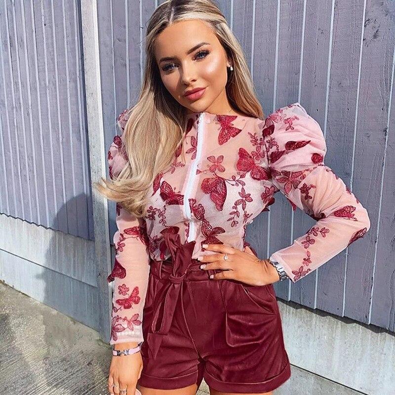 2020 primavera verano Mujer señora blusas High Street Clubwear manga larga Puff ver a través Zip flor estampado de mariposa