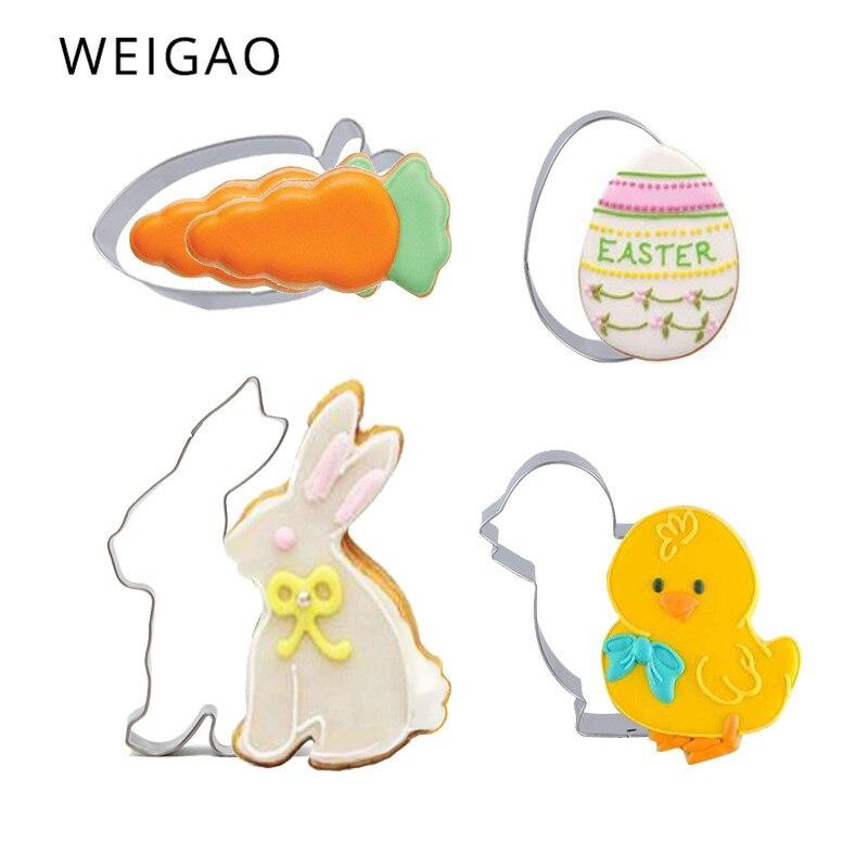 1 Uds. Molde cortador de huevos de conejo y Pascua, molde de acero inoxidable para galletas, herramientas para hornear pasteles, decoración de Pascua para el hogar