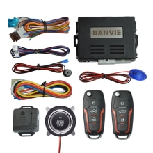 BANVIE Car Alarm System with Remote Engine Start and Push Start Stop Button Keyless Entry