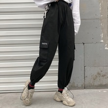 Autumn and Winter New Korean Harajuku Style Loose BF Student Black Pants Casual Street Head Ankle-Ti