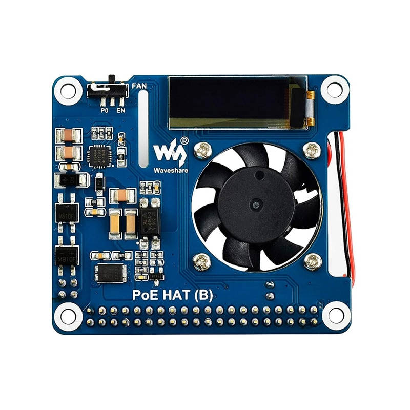 Waveshare الطاقة عبر إيثرنت قبعة دعم 802.3Af PoE لوح تمديد الشبكة مع OLED لتوت العليق Pi 4 نموذج B / 3B +