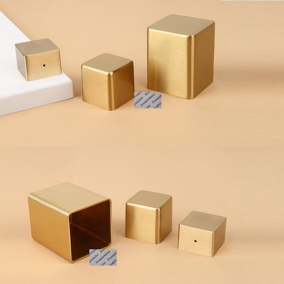 4 قطعة مربع النحاس الأثاث مجلس الوزراء الجدول مكتب كرسي الساق تلميح كاب غطاء كم نهاية ختم نوع