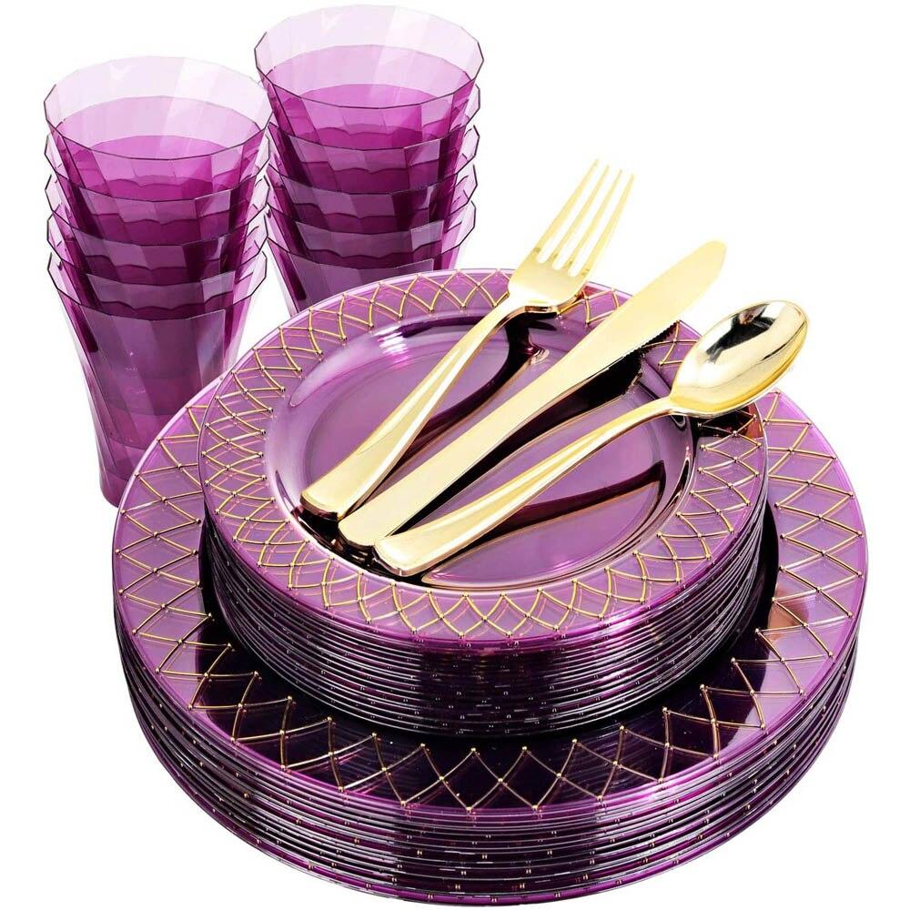 120 قطعة لوازم الطاولة/المائدة قابل للتصرف مجموعة الأرجواني الذهب حافة البلاستيك لوحة الفضيات والكؤوس الزفاف حفلة عيد ميلاد لوازم