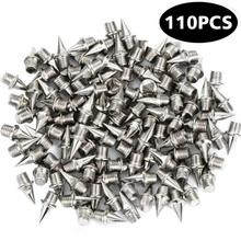110 pcs Shoe Spikes Stainless Steel Spikes Studs Replacement for Sports Running Track Shoes Trainers