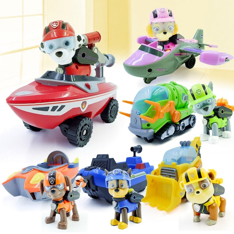 Paw Patrol Puppy Dog Deformation Car Yacht Boat Patrulla Canina Toys Anime Figurine Action Figure Model Kids Gifts