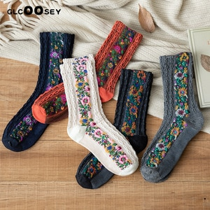 5 Pairs New Fashion Women Cotton Euramerican National Wind Flowers Autumn Winter Socks Ladies Warm Palace Retro Twist Pattern