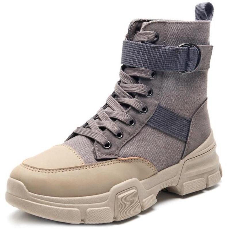 Botines de mujer zapatos planos casuales zapatillas antideslizantes plataforma caliente dama encaje Punk botas de nieve par motocicleta Cross Country zapatos