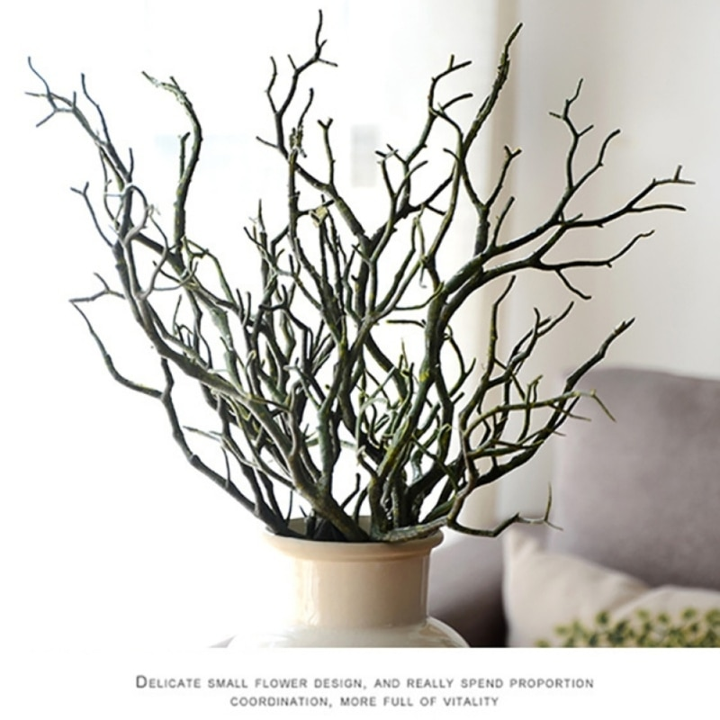 3 piezas 36cm Manzanita seca Artificial Faux planta árbol rama boda casa iglesia Oficina Muebles verde blanco