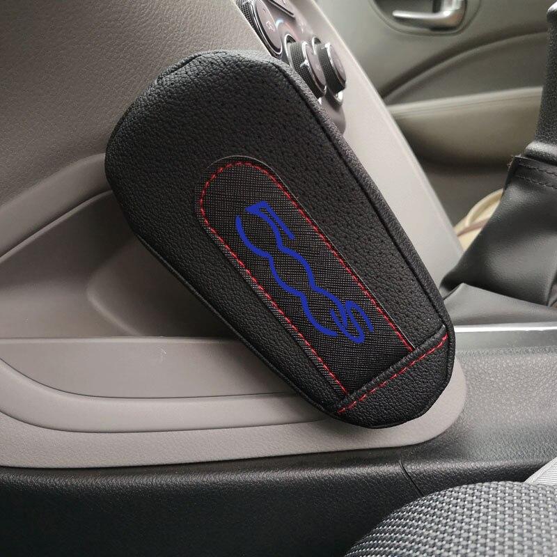 Rodillera de cuero, accesorios interiores de coche para Fiat 500S