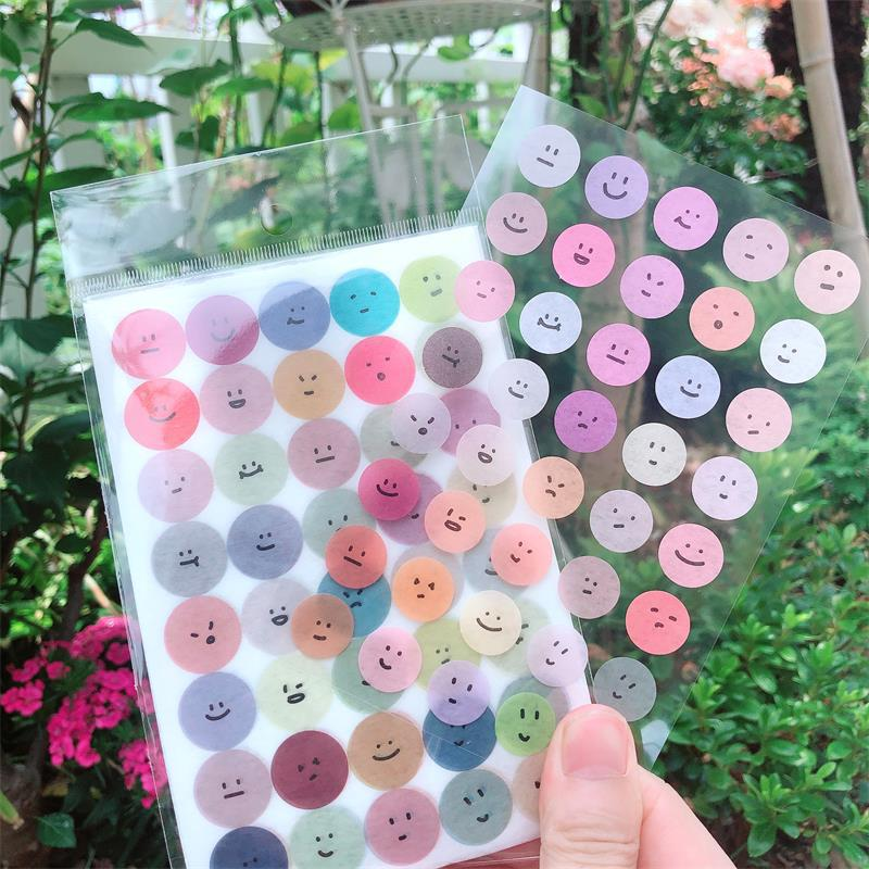 6Sheets DIY Pattern Stickers Cute Smile Decor Stationery Paper Adhesive Sticker For Kids Scrapbooking Diary Supplies