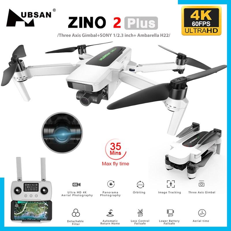 في المخزون Hubsan Zino 2 Plus + GPS الطائرة بدون طيار مع 4K 60FPS UHD واي فاي FPV كاميرا كوادكوبتر 3-محور Gimbal 9 كجم 35 دقيقة بدون طيار VS DJI