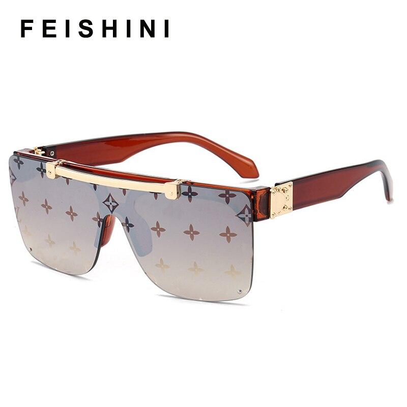 FEISHIN NO logo Brown Luxury Sunglasses Women Brand Designer Unisex Flip Up Square Steampun Men Sun Glasses Male Shades Cool