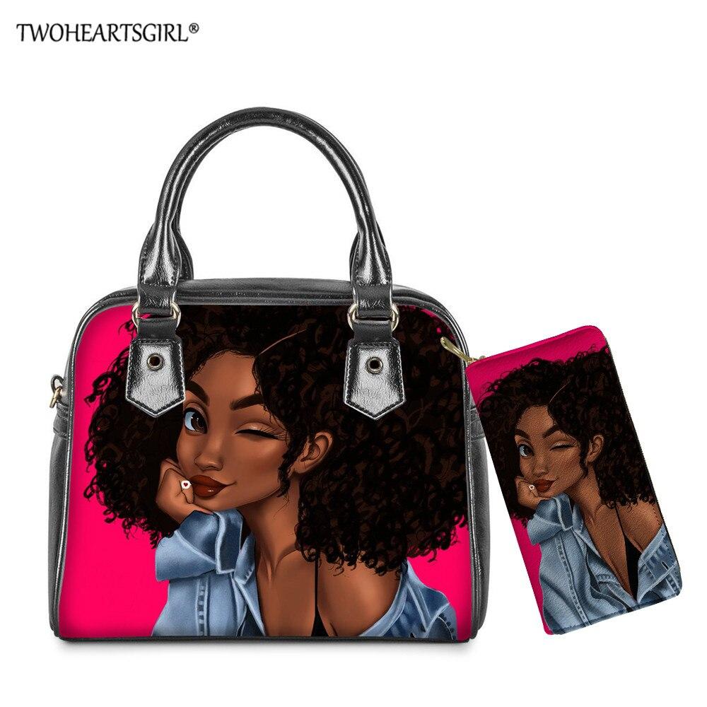 Bolsa de Couro Bolsa do Mensageiro Bolsas de Mão Twoheartsgirl Africano Meninas Impresso Lady Ombro Mulheres Bolsa Top-handle 2 Pçs – Set Diárias Totes