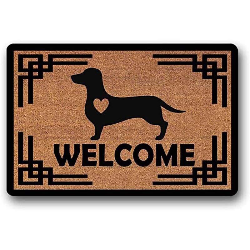 Welcome Dachshund Doge  with A Heart - Coir Door Mat - Doormat  Rubber Non-Slip Entrance Rug Floor Mat Balcony Mat Funny Home De