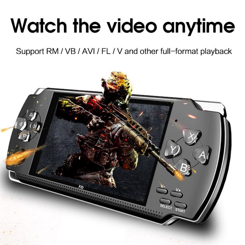 X6 لعبة فيديو وحدة التحكم لاعب لصبي Gamapad يده ريترو 4.3 بوصة شاشة Mp4 لاعب لعبة لاعب دعم التلفزيون خارج ، كاميرا ، فيديو