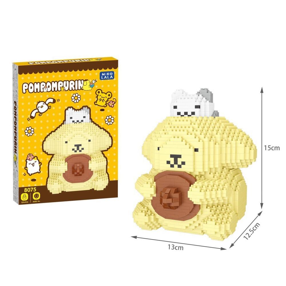 1216 Uds + Cinnamoroll micro bloques lindo kuromi Anime Building Bricks Melody figuras juguetes para niños 8075