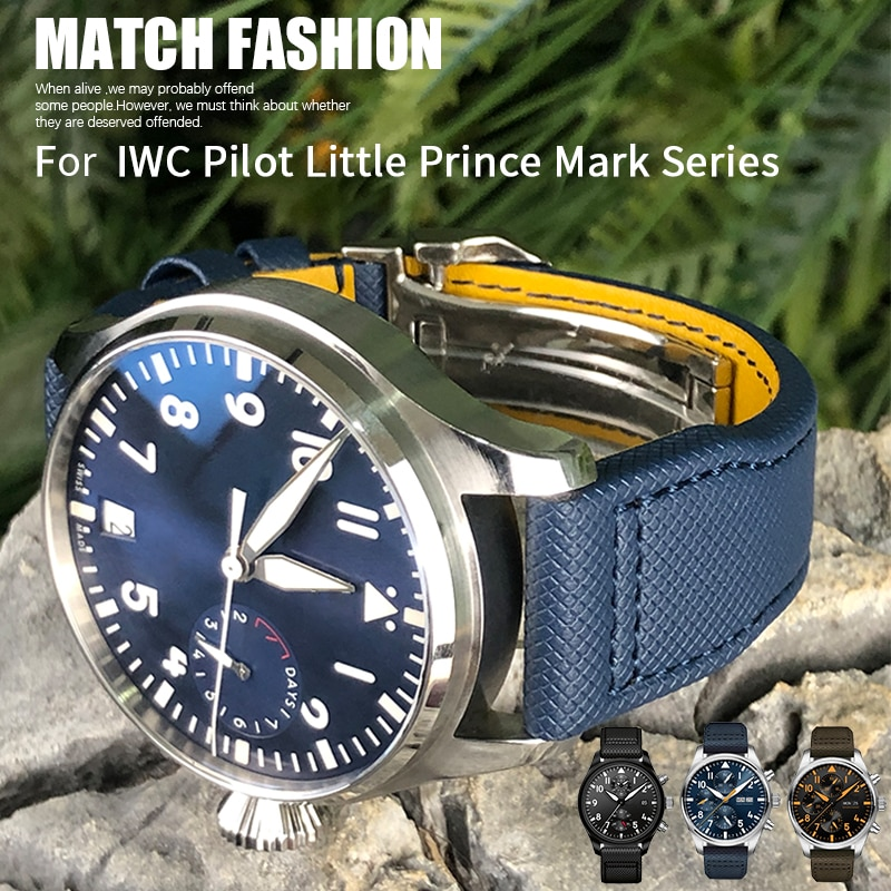 High Quality Nylon Calfskin Watchband 21mm 22mm Fit for IWC Big PILOT IW5009 TOP GUN IW3880 Leather