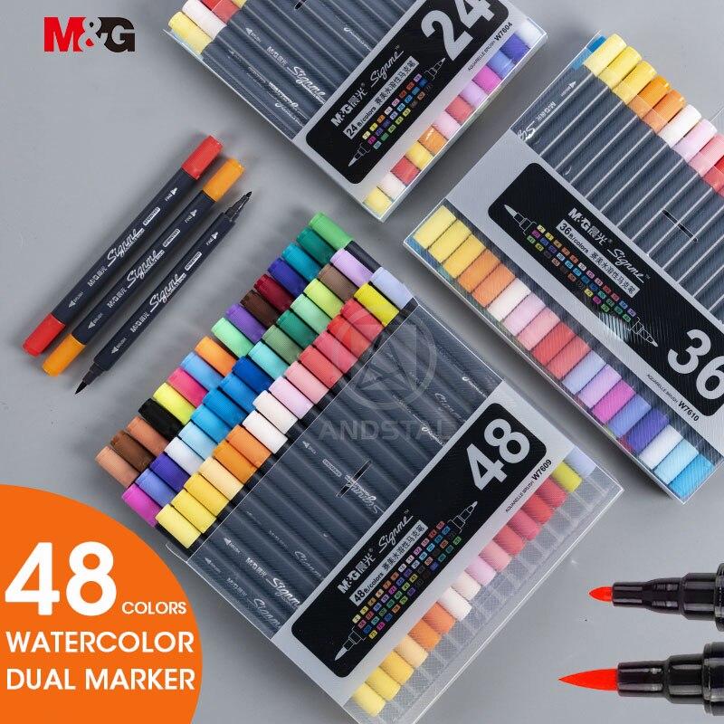 M & G, 12/18/24/36/48 colores, Punta doble, marcadores de obra de arte con acuarela, arte para dibujar, pincel, rotulador, juego de pinceles de colores para dibujar, pinceles