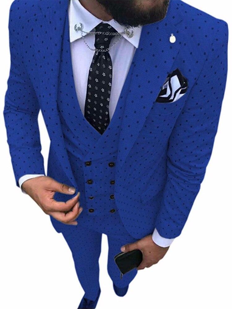 Poika-بدلة زرقاء ملكية للرجال ، بدلة منقطة من 3 قطع ، معطف وبنطلون ، بدلة رسمية مع طية صدر السترة ، لحفلات الزفاف والحفلات ، سترة Pa