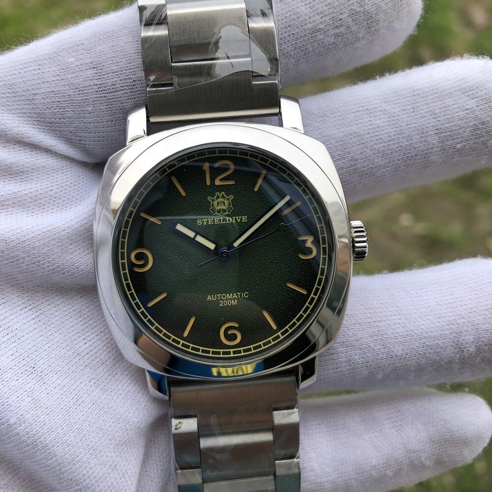 SD1938 ستيليدايف العلامة التجارية حاوية من الفولاذ المقاوم للصدأ الأخضر الهاتفي C3 مضيئة 20ATM رجالي ساعة غوص