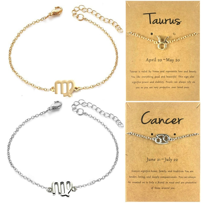12 horóscopo, Zodíaco signo pulsera colgante para mujeres gemini Sagitario Escorpio capricornus Piscis pulsera de Tauro hombres leo zodiaco