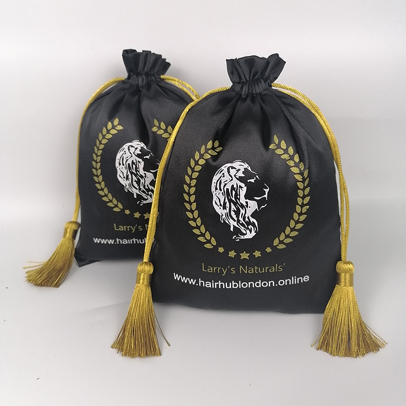 Bolsa de embalaje de satén con Logo personalizado, bolsa para pelucas, bolsa de mano, organizador de viaje, productos de belleza, bolsa con cordón, 60 unidades por lote