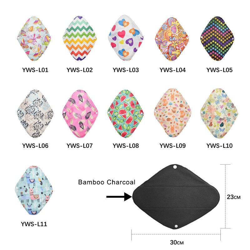 Women Menstrual Pads Washable Sanitary Bamboo Charcoal Cloth Reusable Hygienique Print panties bamboo pad Size S/L