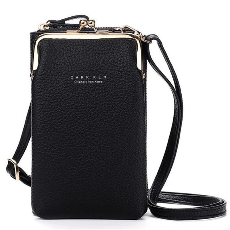 حقيبة الهاتف المحمول النسائية من جلد البولي يوريثان 2021 حقيبة يد جديدة للنساء ذات لون ثابت محفظة صغيرة للسيدات