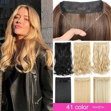Estensioni dei capelli Halo senza Clip in linea di pesce falso Hairpiece pezzo di capelli sintetici colorato marrone naturale frangia nera capelli finti